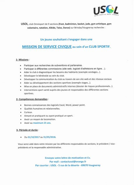 Mission de service civique.